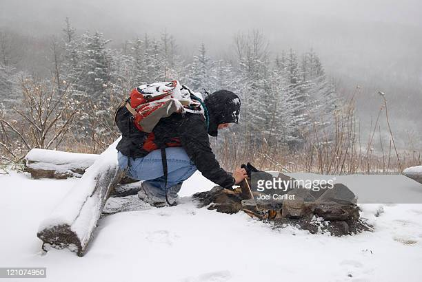 winter campfire - survival stock pictures, royalty-free photos & images