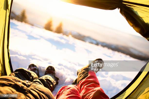 winter camping - snow boot stock pictures, royalty-free photos & images
