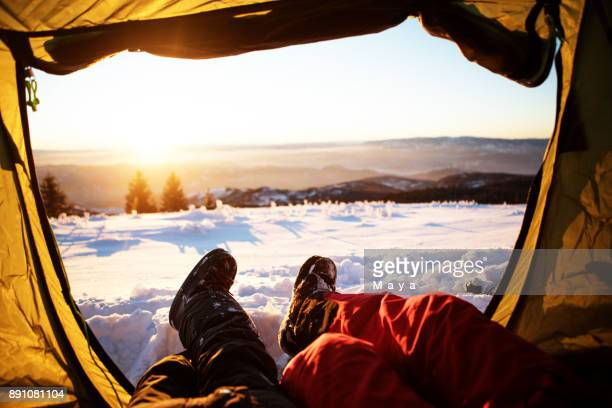 winter camping - snow boot stock photos and pictures