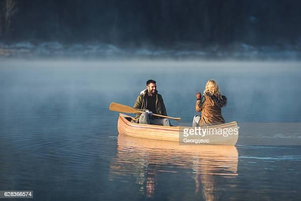 Winter canoe ride