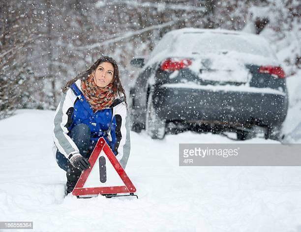 Winter Car Breakdown, Woman Warning Triangle, Snowstorm