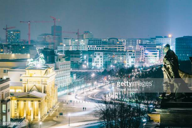 winter cityscape at night in berlin, germany - central berlin stock photos and pictures