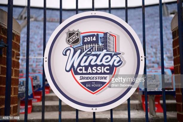 Winter Classic logo is seen on signage during the 2014 Bridgestone NHL Winter Classic Build-out on December 30, 2013 at Michigan Stadium in Ann...