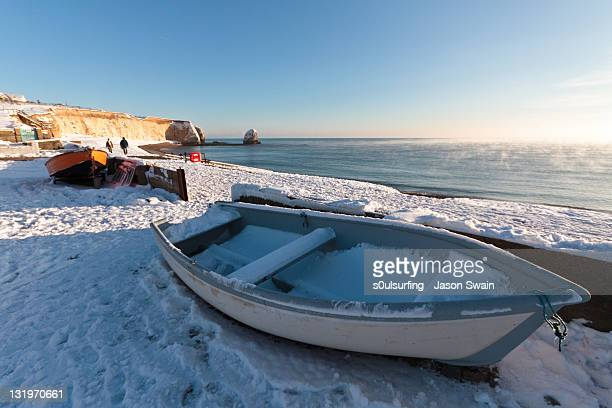 winter coastal landscape with boats - s0ulsurfing stock pictures, royalty-free photos & images