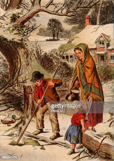 Winter Country boy breaking ice so that his mother can fill her water jar His sister grasps the edge their mother's shawl to prevent herself falling...