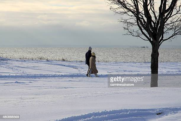 winter couple - westport connecticut stock photos and pictures