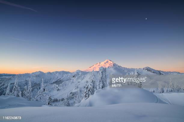 winter dawn on mountain baker - bellingham stock pictures, royalty-free photos & images