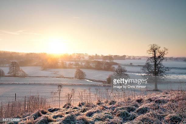 winter dawn - norfolk east anglia foto e immagini stock