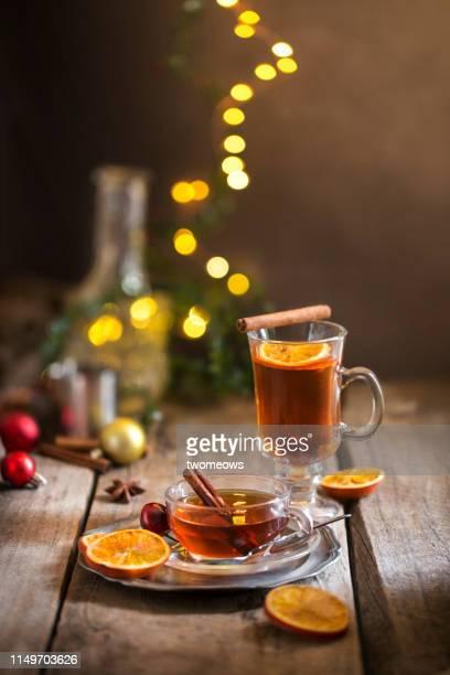winter day hot tea drink still life image. - tee warmes getränk stock-fotos und bilder