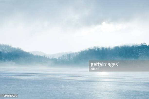 winter day landscape - fog stock pictures, royalty-free photos & images
