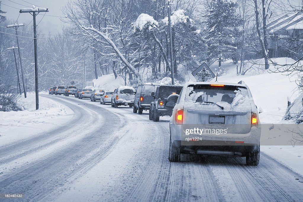 Winter Driving in Snow : Stock Photo
