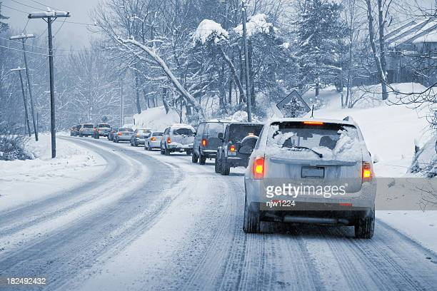 winter driving in snow - winter weather stock photos and pictures