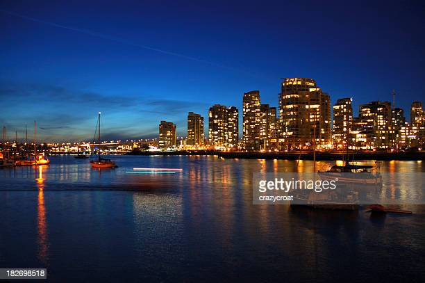 winter evening on false creek in vancouver - grand bahama stock photos and pictures