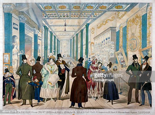 'Winter Fashions from November 1833 to April 1834' 1833 View of figures wearing winter fashions in the Queen's Bazaar on Oxford Street Westminster...