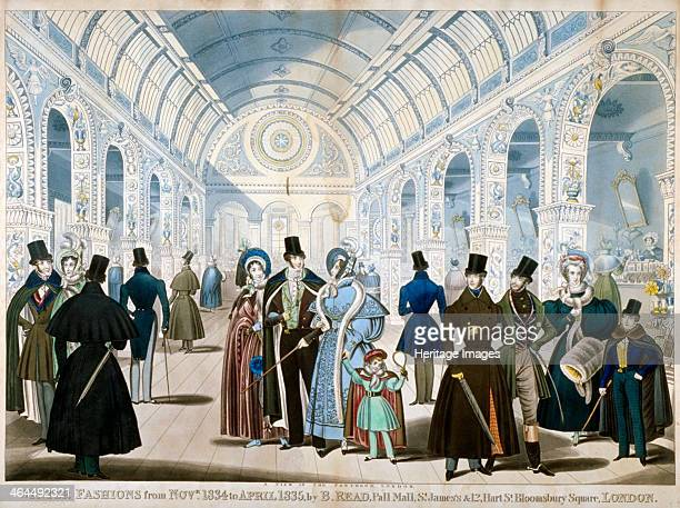 'Winter Fashions from November 1834 to April 1835' 1834View of figures wearing winter fashions in the Pantheon on Oxford Street Westminster London