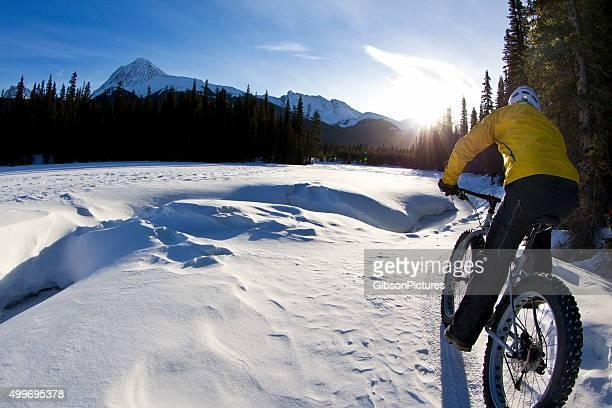 冬の朝の脂肪自転車