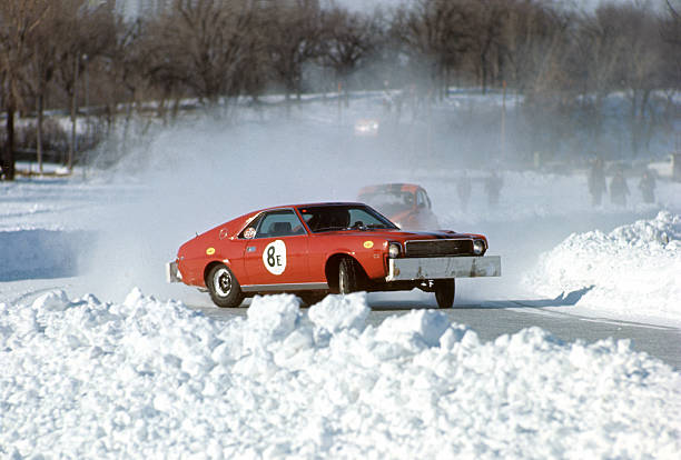 Saint Paul Winter Carnival View of car in action during race over frozen White Bear Lake St Paul MN CREDIT John G Zimmerman