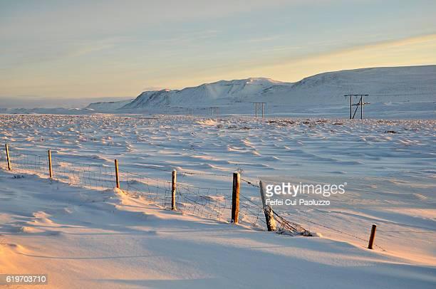 Winter field near Borgarnes of Iceland