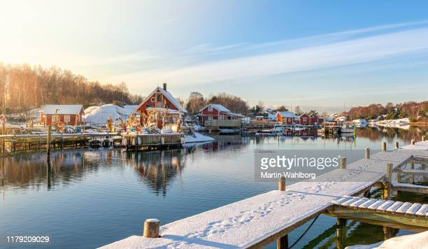 winter fishing village in sweden - gothenburg stock pictures, royalty-free photos & images