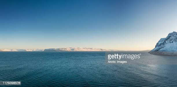 winter, fjord landscape, bolungarvik, west fjords, iceland - seascape stock pictures, royalty-free photos & images