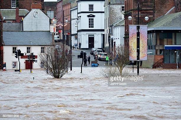 Winter flooding in the Scottish town of Dumfries.
