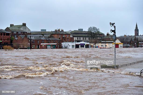 winter flooding in the scottish town of dumfries. - dumfries stock pictures, royalty-free photos & images