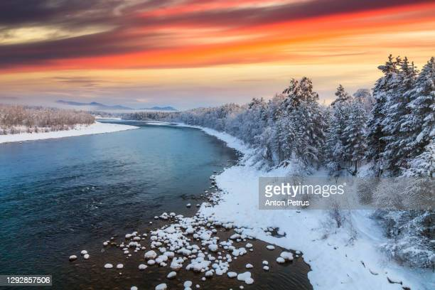 winter forest at sunset. beautiful winter landscape - finland stock pictures, royalty-free photos & images