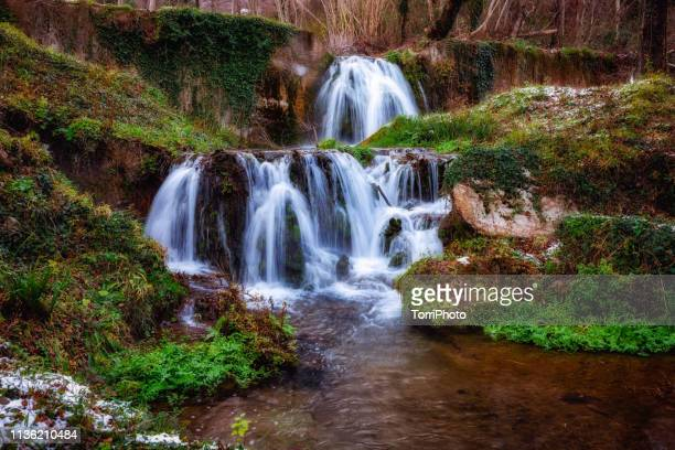winter forest landscape with waterfall - バシリカータ ストックフォトと画像