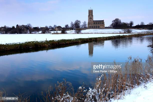 winter frost, st marys church, river nene, fotheringhay village - northamptonshire stock pictures, royalty-free photos & images