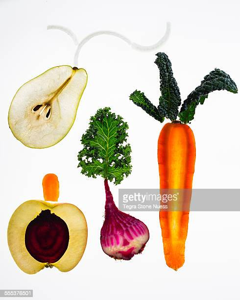 Winter fruit and vegetables on a light table