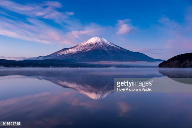 winter fuji - mount fuji stock photos and pictures