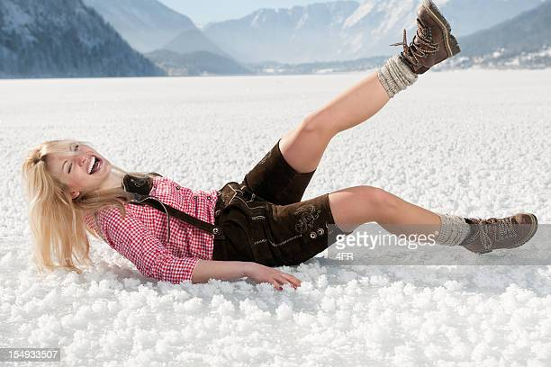 winter fun in lederhosen (xxxl) - crazy holiday models stock photos and pictures