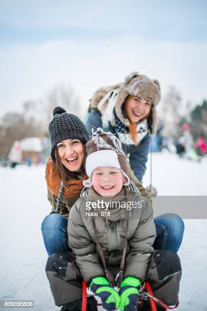 Winter fun - sledding at winter time