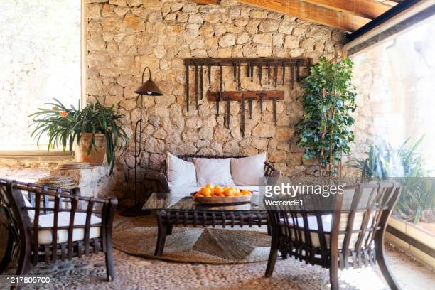 winter garden of an old house, mallorca, spain - spain stock pictures, royalty-free photos & images