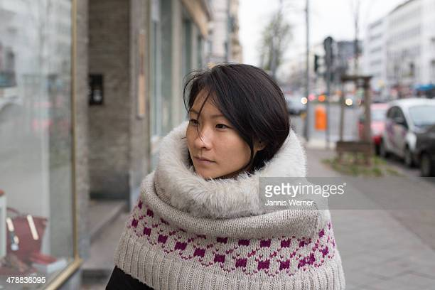 winter girl - snood headwear stock photos and pictures