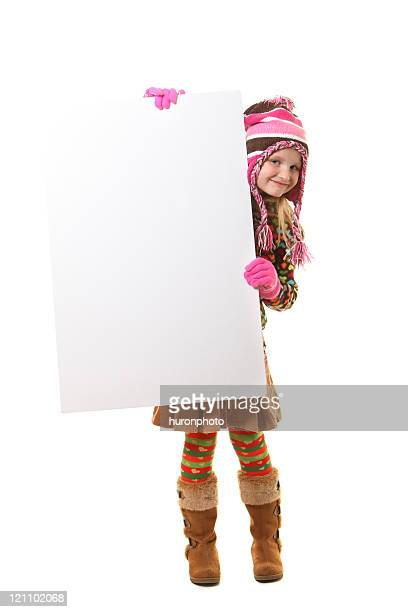winter girl with sign