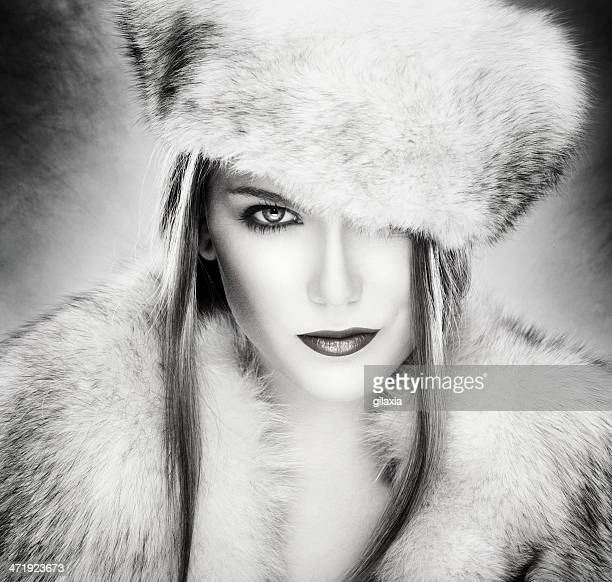 winter glam. - fur hat stock photos and pictures