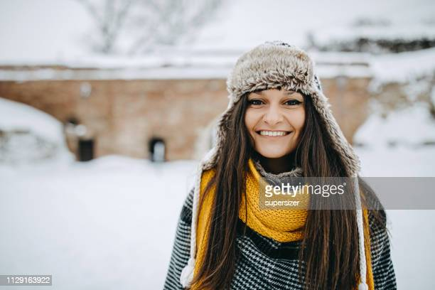 winter happiness - warm clothing stock pictures, royalty-free photos & images