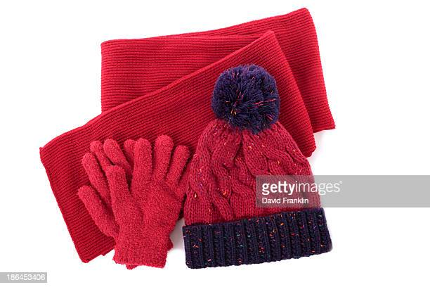 winter hat, scarf and gloves - purple glove stock pictures, royalty-free photos & images