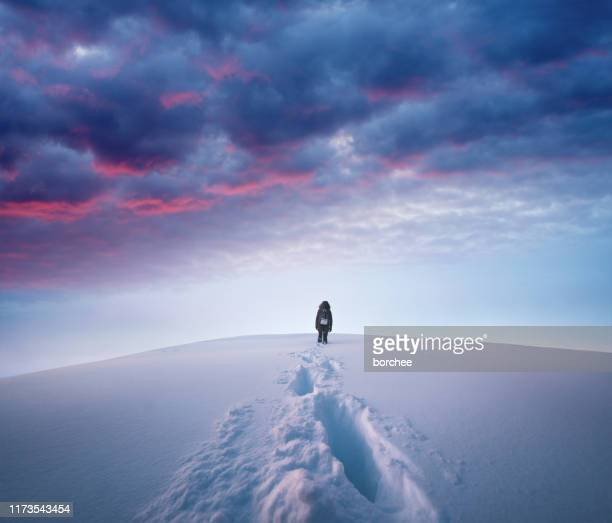 winter hike - wonderlust stock pictures, royalty-free photos & images