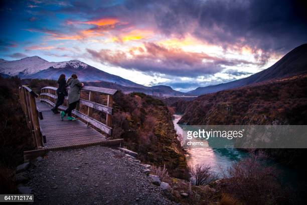 winter hike - new zeland stock photos and pictures