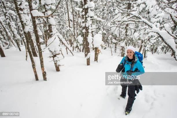 winter hiking in teh white mountains of new hampshire - crawford notch stock pictures, royalty-free photos & images