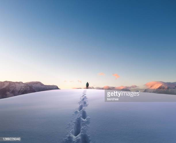 winter hiking - footprint stock pictures, royalty-free photos & images