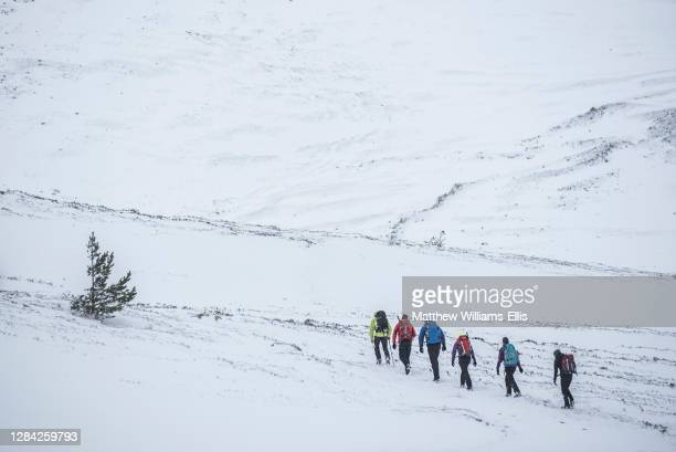 Winter hiking, walking at CairnGorm Mountain, Aviemore, Cairngorms National Park, Scotland, United Kingdom, Europe.