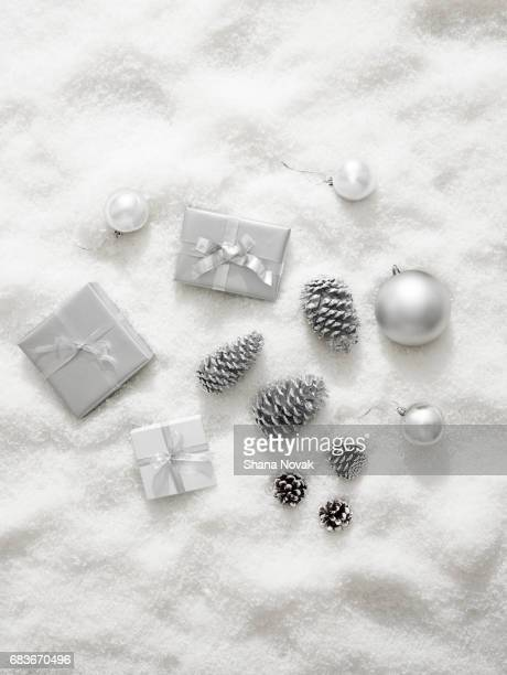 Winter Holiday Decorations on Snow