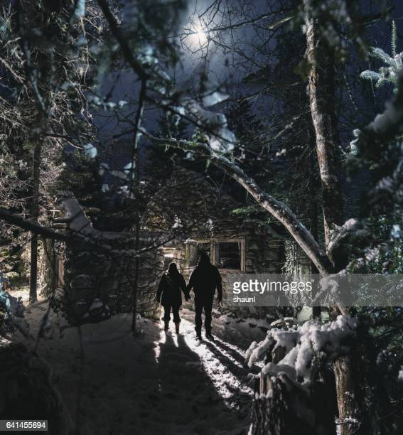 winter homestead - wilderness stock photos and pictures