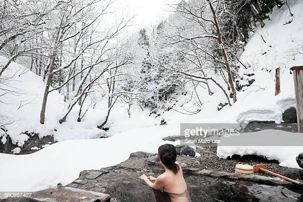 winter hot springs onsen - hot spring stock pictures, royalty-free photos & images