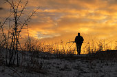 Winter hunting at sunrise. Hunter moving With Shotgun and Looking For Prey.