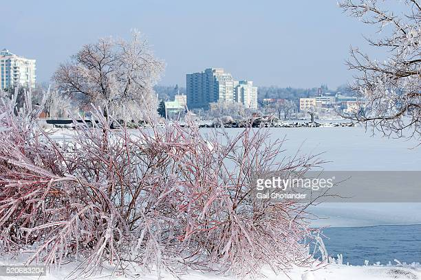winter ice and the shoreline / cityscape - barrie stock pictures, royalty-free photos & images