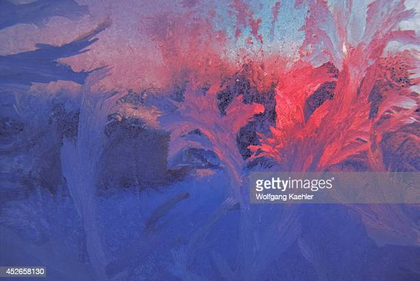 Winter Ice Crystals Patterned On Frosted Glass Of Window